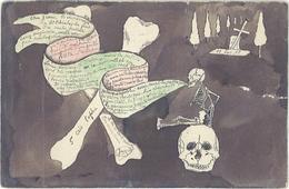 Carte Artisanale Rarissime Dessinée Et Peinte Main  Texte Et Dessins Originaux De 1898 (Entier Postal 814). (1960 ASO) - Schilderijen