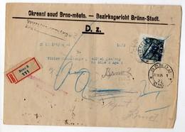 Czechoslovakia Registered Brno Court Postage Due 1924 - Czechoslovakia