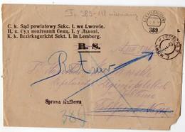 Ukraine Poland Austria Lemberg Lwow Court Field Post # 389 Return 1917 - Ukraine