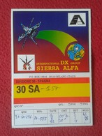 TARJETA TIPO POSTAL TYPE POST CARD QSL RADIOAFICIONADOS RADIO AMATEUR DX SIERRA ALFA SATÉLITE SATELLITE COMMUNICATION... - Tarjetas QSL