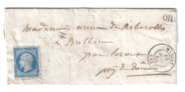 PUY DE DOME PC 1859 /YT14 C15 MANZAT 10 JUIL 1858 OR CHATEAUNEUF LETTRE AVEC TEXTE - Marcofilia (sobres)
