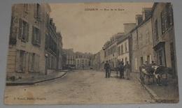 56 - Gourin - Rue De La Gare :: Tampon Hôpital Au Dos ::: Animation - Vache - Attelage Avec Cheval  -------------- 515 - Gourin