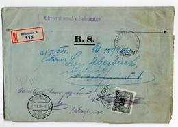 Czechoslovakia Registered Bohumin Court Postage Due 1924 - Czechoslovakia