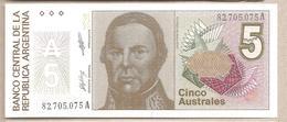 Argentina - Banconota Non Circolata FdS Da 5 Australes P-324b - 1988 #18 - Argentina