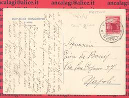 St.Post.043 - REPUBBLICA 1946 - Cartolina Privata Da Rimini A Napoli 13.10.46 (GIORNO FESTIVO) - 6. 1946-.. Repubblica
