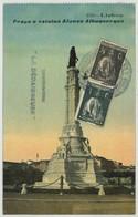 """Canonnière """"La Dédaigneuse"""" + Service à La Mer / CP Portugal Lisbonne Praça E Estatua Alfonso Albuquerque . 1917 . - Postmark Collection (Covers)"""