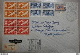 33 AEF OUBANGUI-CHARI 1943 LETTRE RECOMMANDEE FRANCE LIBRE POUR MADAGASCAR RARE RETOUR A L ENVOYEUR - A.E.F. (1936-1958)