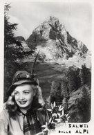 MONTE CERVINO - RAGAZZA CON CAPPELLO DI ALPINO - VIAGGIATA 1956 - (rif. A57) - Italië