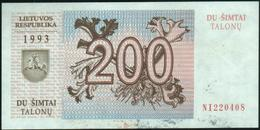 LITHUANIA - 200 Talonu 1993 {Lietuvos Respublika} AU P.45 - Litouwen