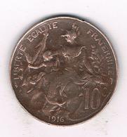 10 CENTIMES 1916 FRANKRIJK /9425/ - Frankrijk