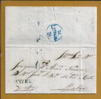 Viseu. Letter Circulated Of Vizeu - Lisbon 1850. Obliteration De VIZEU Blue And Size 40 Reis. Portugal. 3sc. Rare - Portugal