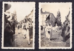 5 OUDE FOTO'S  * SINT NIKLAAS - ROND 1930 - PROCESSIE IN O.A PARKSTRAAT - ZICHT OP TABAK FABRIEK - Sint-Niklaas