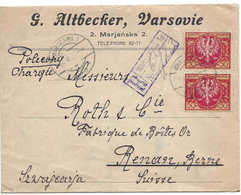 POLOGNE SWITZERLAND, POLAND, WARSZAWA, 18VI1922, Timbres 2 X 50, Lettre Recommandée Pour La Suisse, Renan, REGISTERED - Cartas
