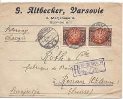 POLOGNE SWITZERLAND, POLAND, WARSZAWA, 6XII1922, Timbres 2 X 100, Lettre Recommandée Pour La Suisse, Renan, REGISTERED - Cartas