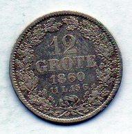 GERMAN STATES - BREMEN, 12 Grote, Silver, 1860, KM #242 - [ 1] …-1871 : Duitse Staten