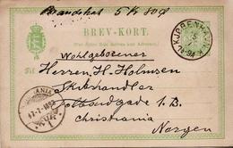 Postal History Cover: Denmark Used Postal Stationery Card From 1893 And Denmark Used Postal Stationery Card From 1905 - Interi Postali