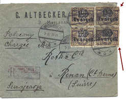 POLOGNE SWITZERLAND, POLAND WARSZAWA, 3XI1923, 4 Stamps Overprinted TYSIECY Surchargés Lettre Recommandée Pour La Suisse - Cartas