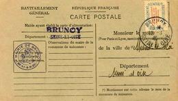 Carte De Ravitaillement, Mairie De BRUNOY (Seine Et Oise)  - Cachet à Date Du  12 Août 1946 - Marcophilie (Lettres)