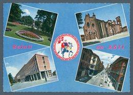 °°° Cartolina - Saluti Da Asti Vedute Viaggiata °°° - Churches