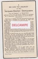 DOODSPRENTJE DEMUYSERE JACQUES ZOON VAN AUGUSTE EN SIEUW WERVIK 1930 - 1952  Bewerkt Tegen Kopieren - Devotion Images