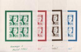 Marcel Paul - Philat'eg - 4 Feuillets Gommés - Vert Rouge Brun Bleu - Commemorative Labels
