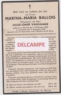 DOODSPRENTJE BALLOIS MARTHA ECHTGENOTE VANDAMME WERVIK 1894 - 1945  Bewerkt Tegen Kopieren - Devotion Images