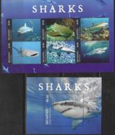 NIUAFO'OU, 2019, MNH, SHARKS, WHITE SHARK, WHALE SHARK, MAKO SHARKS, SHEETLET +S/SHEET - Fische