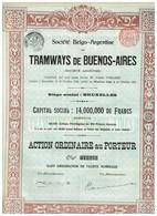 Titre Ancien - Société Belgo-Argentine Des Tramways De Buenos-Aires -  Titre De 1905 - - Chemin De Fer & Tramway