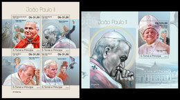 S. TOME & PRINCIPE 2019 - John Paul II, Mother Teresa. M/S + S/S Official Issue - Mutter Teresa