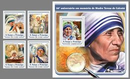 S. TOME & PRINCIPE 2017 - Mother Teresa - YT 5729-32 + BF1033 - Mutter Teresa