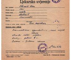 1957 YUGOSLAVIA, BOSNIA, 100 DIN BUGOJNO REVENUE + 1 REVENUE STAMP, HEALTH CERTIFICATE - 1945-1992 Socialist Federal Republic Of Yugoslavia