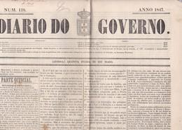 LISBONNE LISBOA Journal DIARO DO GOVERNO N°118 De 1847, 4 Pages Complètes Journal Portugais Portugal - Colecciones