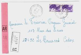ASTAFFORT 47 Lot Et Garonne Lettre Recommandée Avec AR 10 F Liberté Yv 2276 Ob 16 6 1986 - Briefe U. Dokumente
