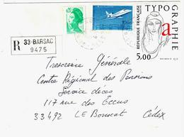 BARSAC 33 Gironde Lettre Recommandée 20c Liberté 10F Falcon 900 5F Typographie Yv 2181 2407 2372 Ob 16 6 1986 - Briefe U. Dokumente
