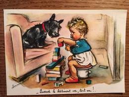 """CPM, Illustrateur, Germaine BOURET,""""quand Le Bâtiment Va, Tout Va !"""", Enfant Construisant Sous Les Yeux De Son Chien - Bouret, Germaine"""