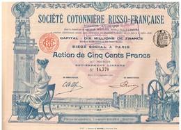 Titre Ancien - Société Cotonnière Russo-Française -  Titre De 1900 - Déco - Imprimerie G. Richard - Russie
