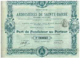 Titre Ancien - Société Des Ardoisières De Saint-Barbe -  Titre De 1899 - Déco - Imprimerie Chaix - Mines