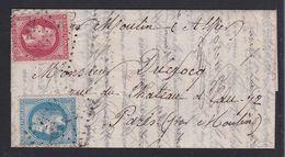 """France 1870 - BOULE DE MOULINS Rentrée Dans Paris Par """"SAC DE RIZ"""" - Voir Descriptif & 3 Photos - - Storia Postale"""