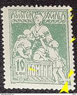 Errors  Roumanie 1921 Social Assistance  10b Green With Printed Horizontal Line That Cuts The Foot, Broken Letter ``m` - Variedades Y Curiosidades
