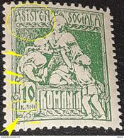 Errors  Roumanie 1921 Social Assistance  10b Green  With Printed Vertical Line, Point On Frame - Variedades Y Curiosidades