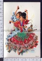 V9636 ILLUSTRAZIONE DANZA TANGO SPAIN COSTUMI TESSUTO IN RILIEVO - Illustratori & Fotografie