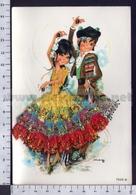 V9637 ILLUSTRAZIONE DANZA TANGO SPAIN COSTUMI TESSUTO IN RILIEVO - Illustratori & Fotografie