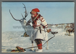 V9665 NORWAY A LAPPGIRL AND A REINDEER VG - Norvegia