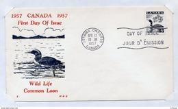 L4E014 CANADA FDC Wild Life Common Loon Ottawa 10 04 1957 - 1952-1960