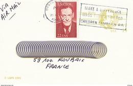 L4E210 ETATS-UNIS CP Entier Postal George Wythe  Boston Pour Roubaix France 25-03-1987 OMEC Make A Difference Mass ... - Entiers Postaux