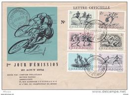 L4G058 LUXEMBOURG Lettre Officielle Série Sports 20-08-1952 - Lussemburgo