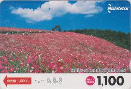 Carte Prépayée Japon - FLEUR - COSMOS -  FLOWER Japan Prepaid Bus Card - BLUME - Nishi 2493 - Bloemen