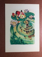 "Vintage USSR Postcard 1988 By Vladimirsky. ""Golden Key"" Pinocchio BURATINO. Turtle Tortilla. Leech - Fairy Tales, Popular Stories & Legends"