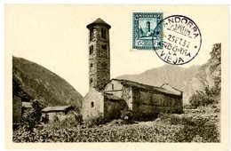 ANDORRE CP MAXIMUN 1932 N°18A ANDORRA LA VIEJA (PAS VOYAGEE) - Andorre Espagnol