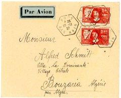 BAS RHIN ENV 1937 BUST AGENCE POSTALE (517 HABITANTS EN 1936) 341 ET 342 => BOUZARIA ALGERIE . VOIR LES SCANS - Storia Postale